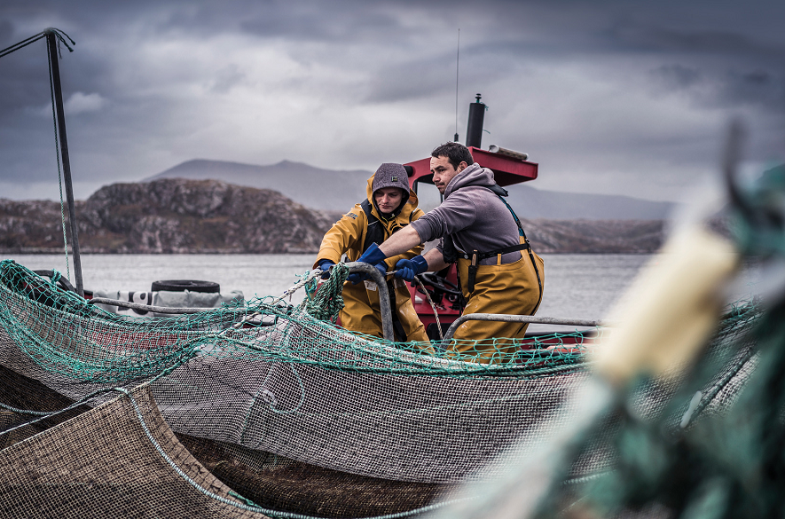 Two men hauling a net on a fish farm