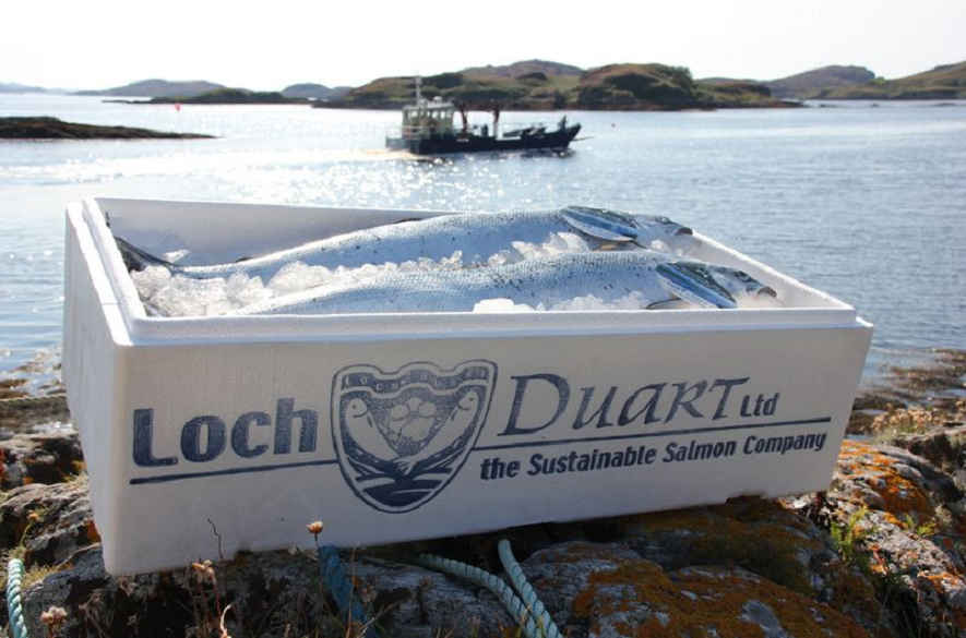 Box of salmon with Loch Duart Ltd name printed on side sitting on rocks - water with boat in background