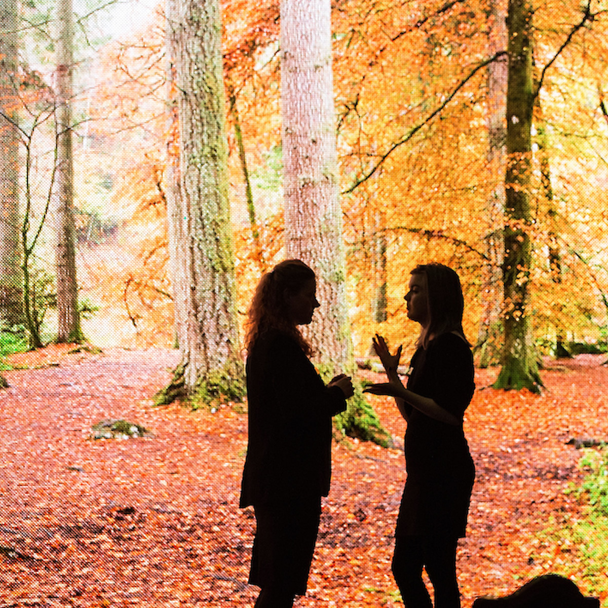 Women talking with forest background