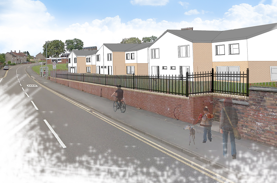 artist impression of new houses next to road