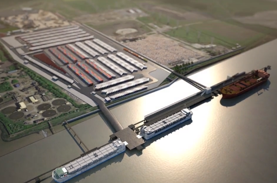aeriel view of Tilbury2 CGI
